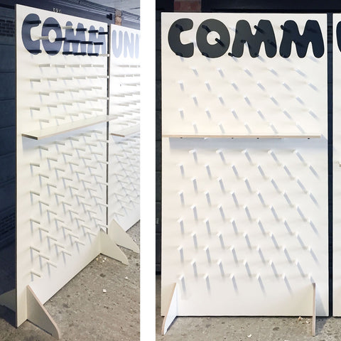 Pegboard wall free-standing for donuts with custom lettering