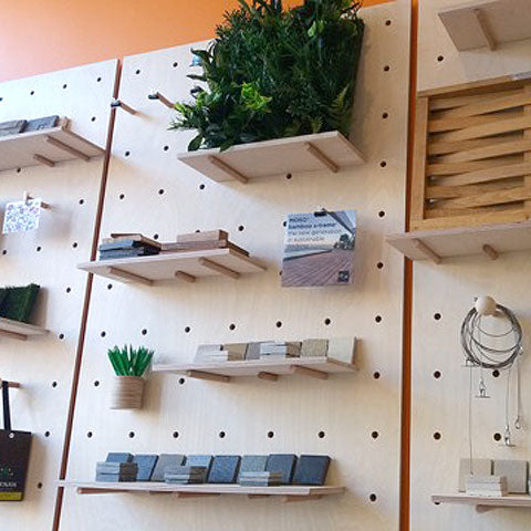 Garden Designer Showroom wall with pegboards by Kreisdesign