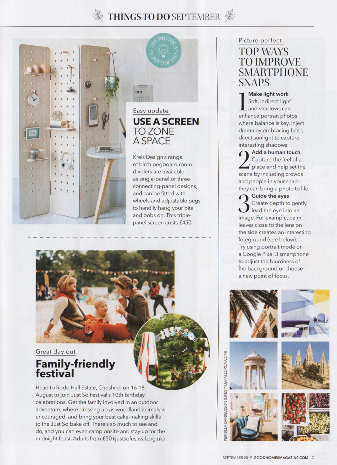 Pegboard folding room divider screen by Kreisdesign made from birch plywood featured in Good homes magazine