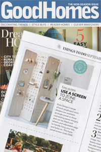 Pegboard folding room divider screens featured in Good Homes Magazine september 2019