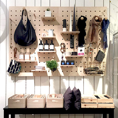 Hoos Homeware store Glasgow with Kreisdesign natural birch plywood pegboards
