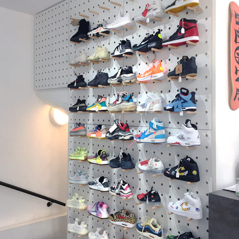 Intruders store Soho London Trainer wall with Kreisdesign pegboards