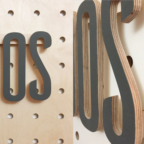 Plywood large letters for pegboards by Kreisdesign