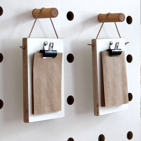 Mini hanging clipboard with leather string for pegboards by Kreisdesign