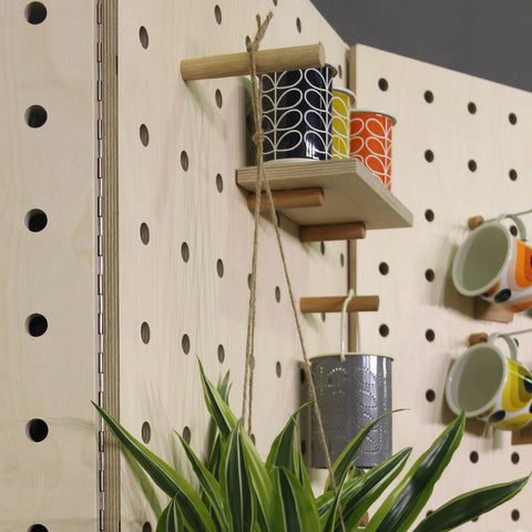 Long wooden peg for pegboards to hang planters etc from pegboard by Kreisdesign