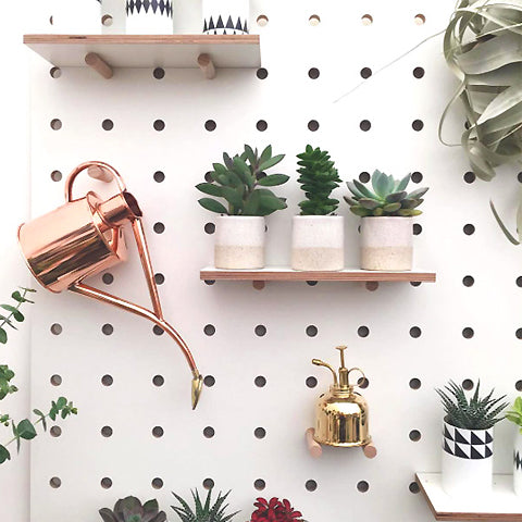 Kreisdesign pegboard in white plywood for geo-fleur plant shop