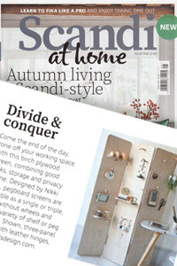 Scandi at home magazine features Kreisdesign pegboard folding screen room divider