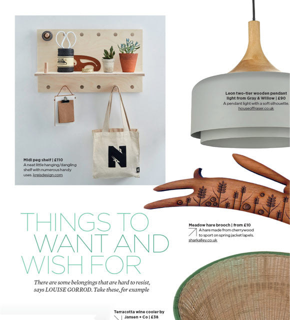 The PegShelf Midi is featured in the Simple Things Magazine in their April issue 2017