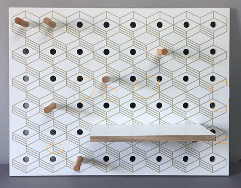 Pegboard White Little -  3D Pattern printed
