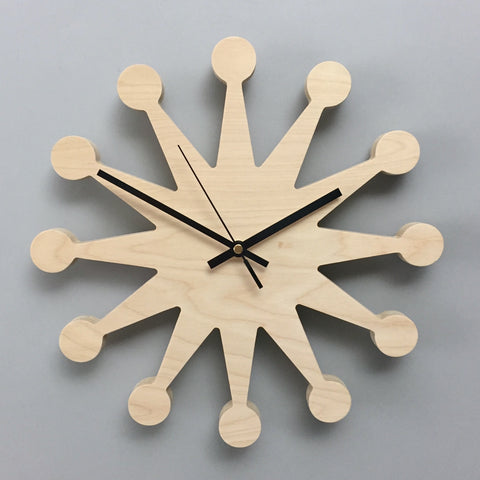 Plywood Wall Clock - Bubble Natural birch
