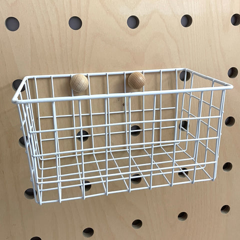 White Small Basket for Pegboards