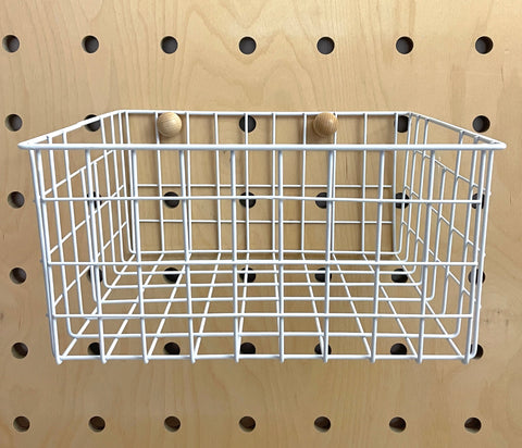 White Large Basket for Pegboards
