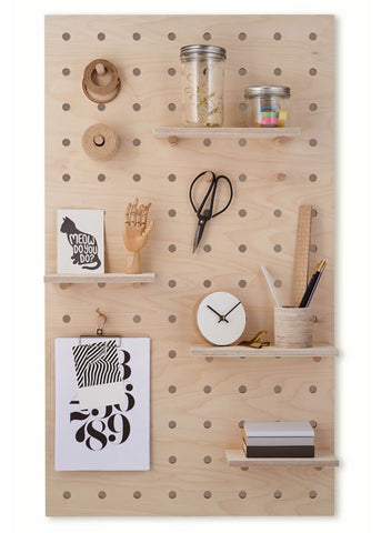 Peg-it-all Pegboard : Wall-mounted Storage Panel in birch plywood
