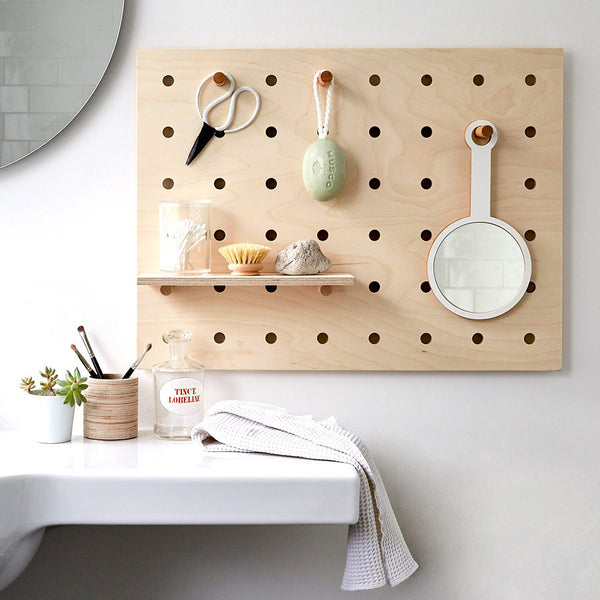 Peg-it-all Little Pegboard: Wall-mounted Storage Panel in natural