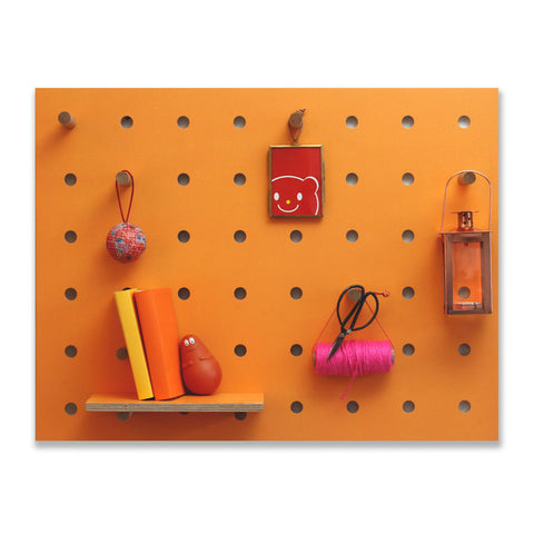 Peg-it-all Little Pegboard: Wall-mounted Storage Panel in Orange