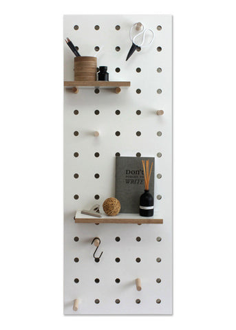 Peg-it-all Midi Pegboard: Wall-mounted Storage Panel in white