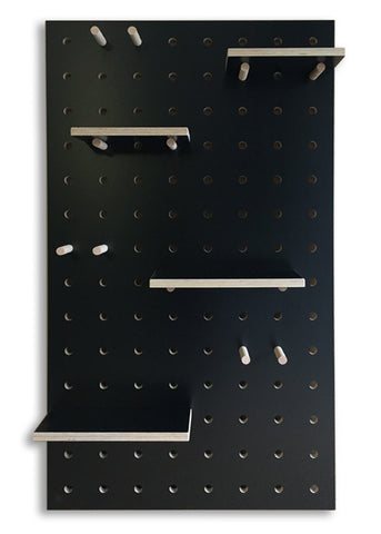 Peg-it-all Pegboard : Wall-mounted Storage Panel in black birch plywood