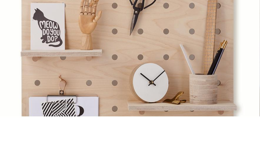 Peg-it-all Little pegboard in natural plywood with printed floral pattern