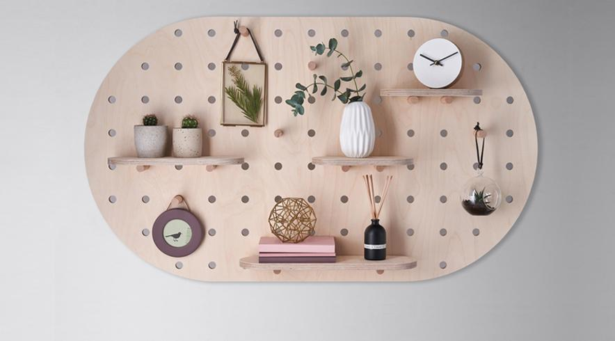 Peg board in birch plywood for home office and kitchen
