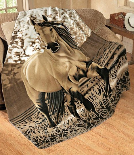 "Buckskin Horse Throw (Large: 63"" x 73"") - Super Soft - Georgia Horseback"
