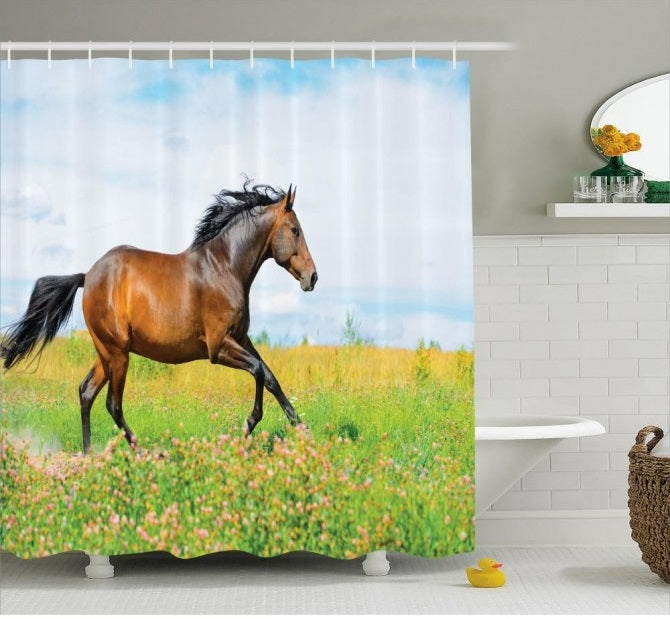 Equine Decor - Bay Horse Shower Curtain - Georgia Horseback