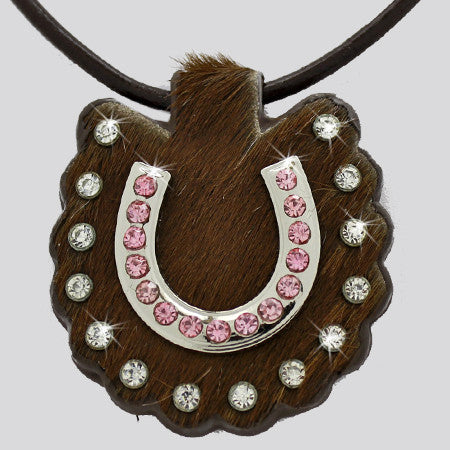Lucky Horse Genuine Cowhide Studded Necklace with Rhinestone Horseshoe