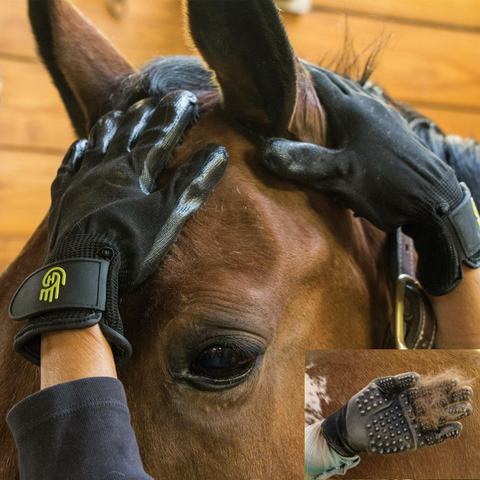 SALE:HandsOn Grooming Gloves (GREEN) For Horses and Dogs