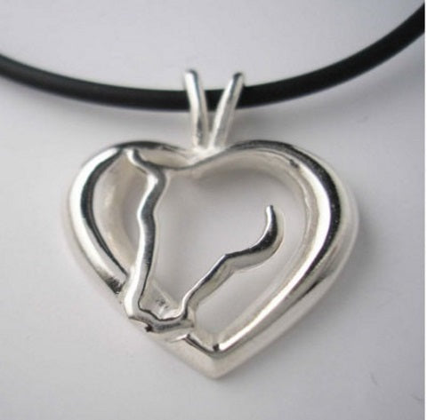 Horse Love Necklace, Heart & Horse Head, Horse riding gift - Georgia Horseback