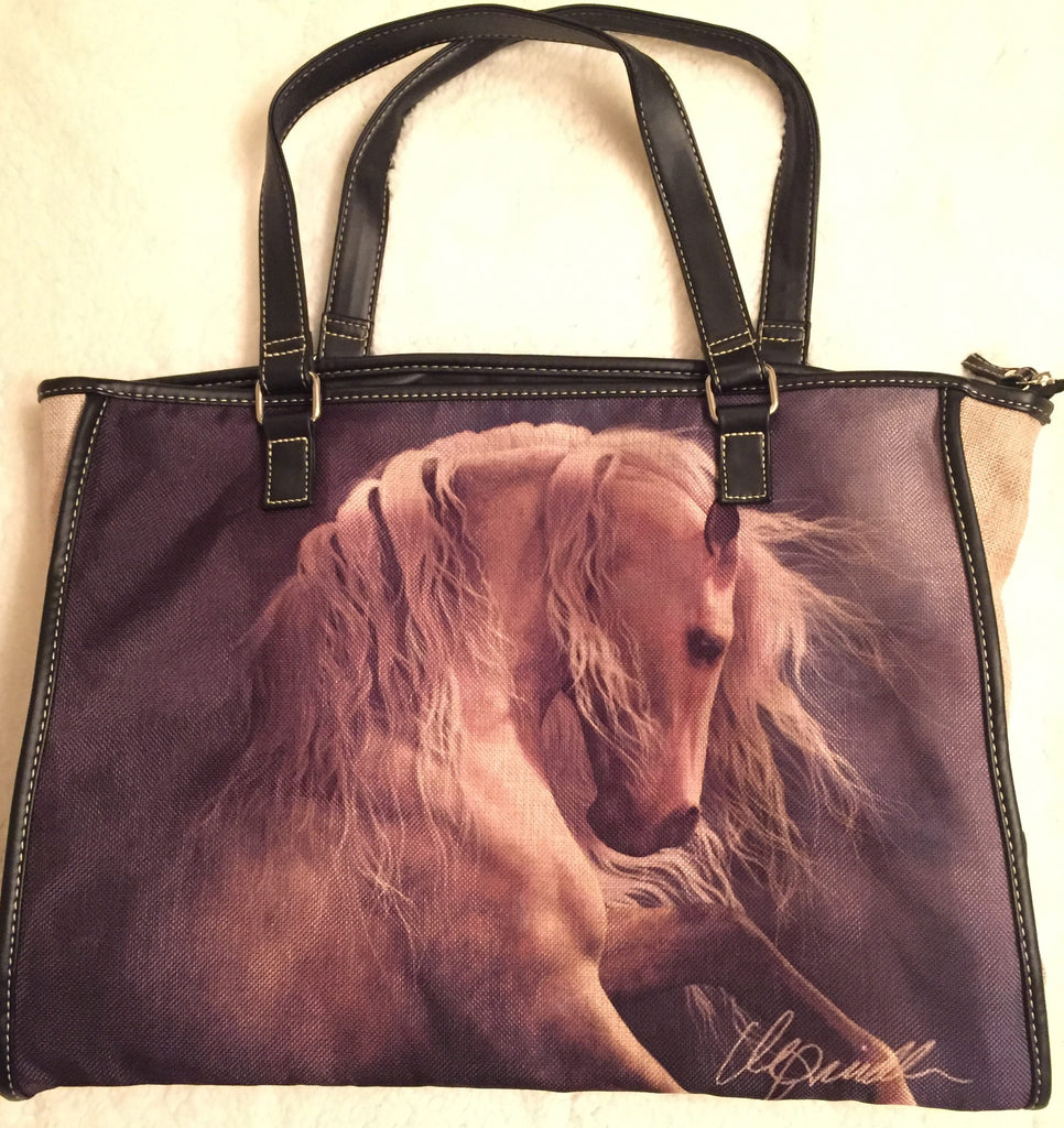 "White Horse Canvas Tote Bag  (18"" x 14"") - Georgia Horseback"