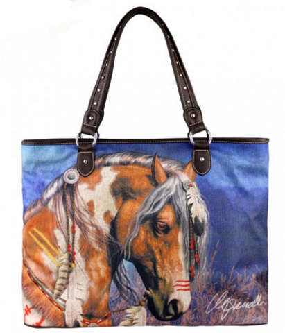 "Horse Art Canvas Tote Bag (PATCH) - Laurie Prindle Collection - 18"" x 5"" x 14"""