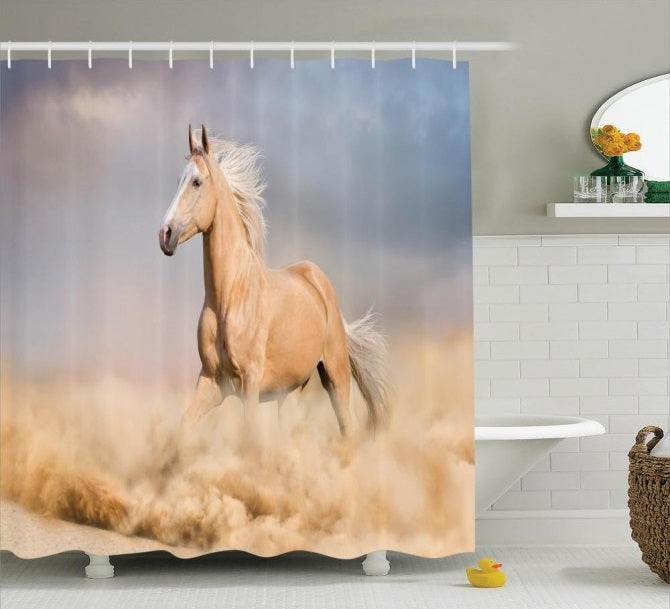 Equine Decor - Palomino Horse Shower Curtain - Georgia Horseback