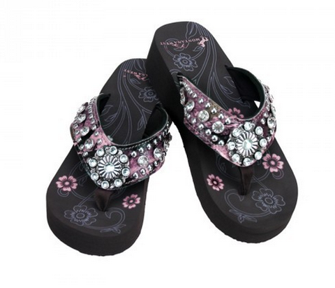 Flip Flops with Bling by Montana West (Pink)
