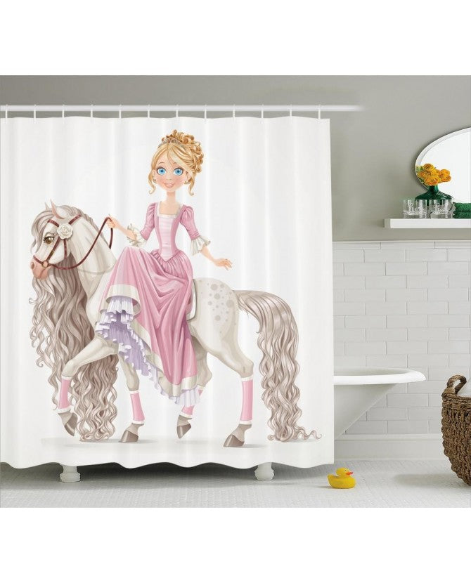 Equine Decor - Princess Horse Shower Curtain - Georgia Horseback