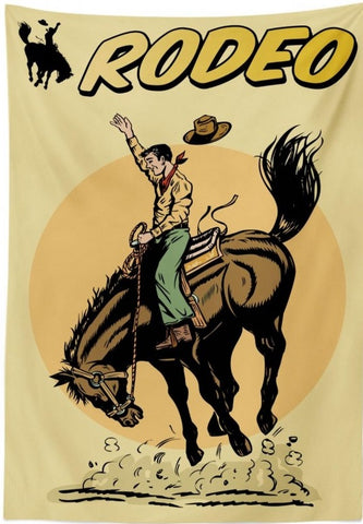 Equine Decor - Western Retro Vintage Rodeo Tablecloth