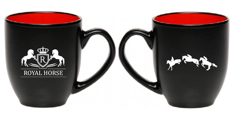 Royal Horse Equestrian Mug Coffee Cup - 16oz - two toned - great gift for a horse lover