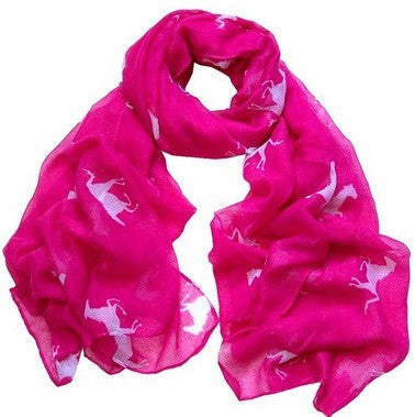 "Running Horse Scarf  - Soft - Hot Pink/White - Large - 40"" x 72"" - Georgia Horseback"