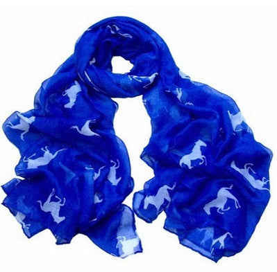 "SALE - Running Horse Scarf  - Soft - Blue/White - Large - 40"" x 72"""