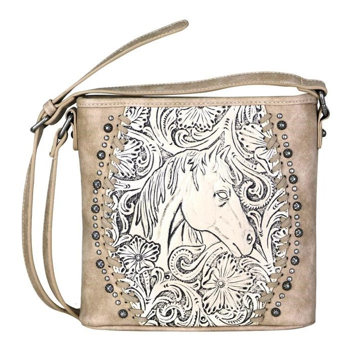 Horse Head Floral Tooled Cross Body Bag by Trinity Ranch - Georgia Horseback