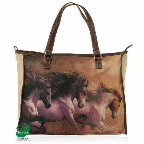 "Three Amigos Horse - Canvas Tote Bag  (18"" x 14"")"