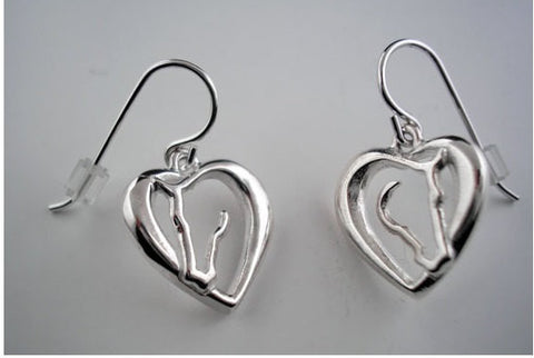 Horse Love Earrings, Horse head inside heart, Horse heart