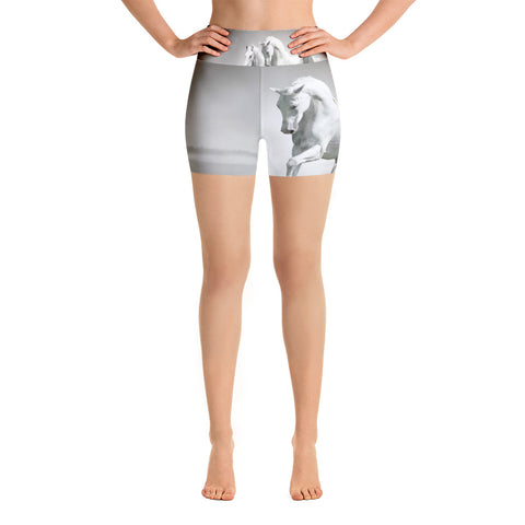 White Horse Yoga Shorts - High waist