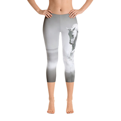 White Horse Capri Leggings