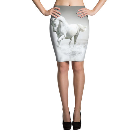 White Horse Pencil Skirt