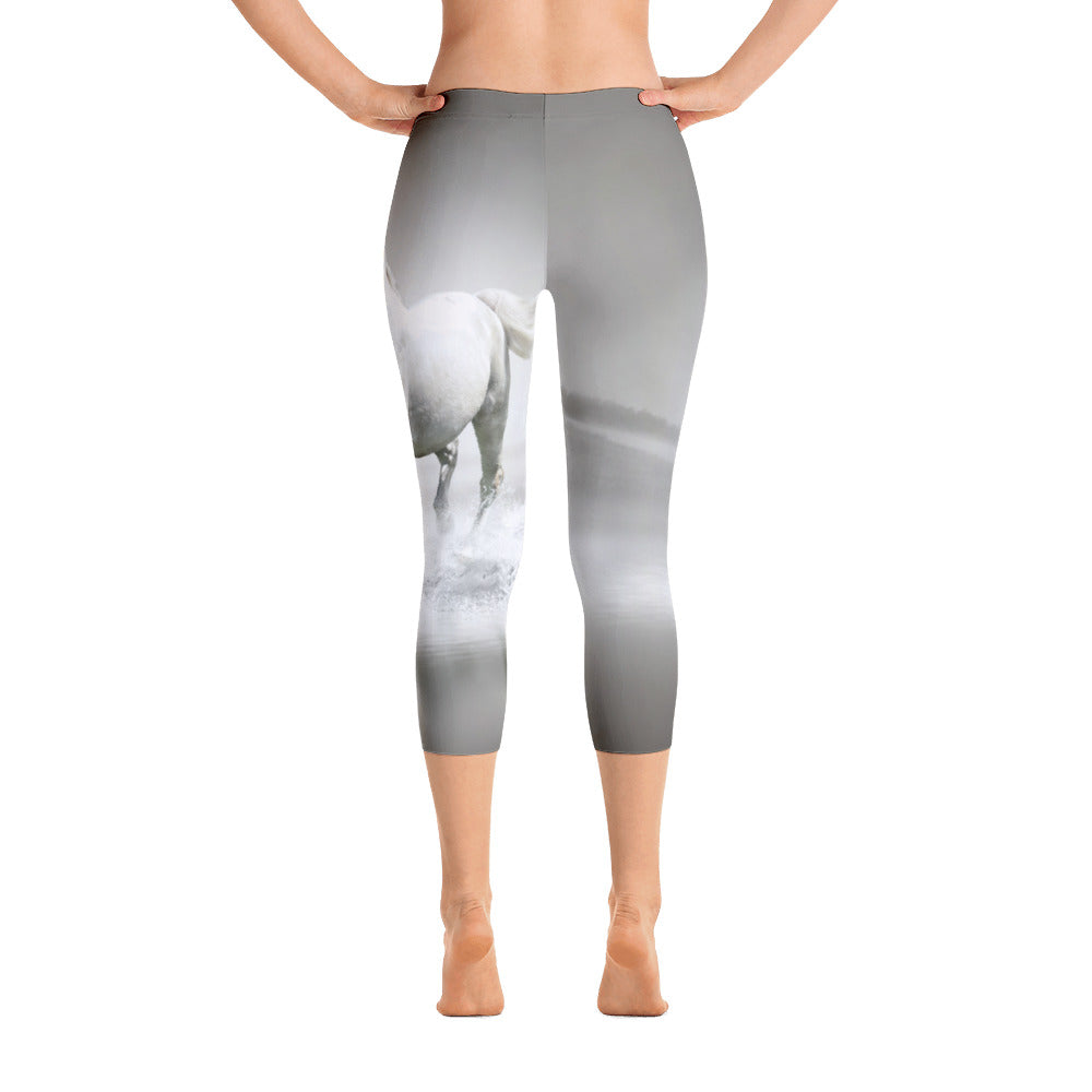 White Horse Capri Leggings - Georgia Horseback