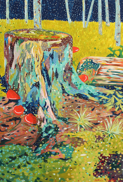 Mushrooms on Stump by Katherine Dunlap