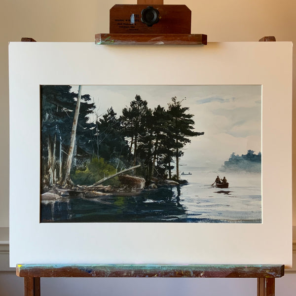 "16"" x 20"" Print: Fishing at Grand Lake, Maine"