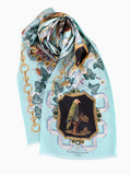 Elizabeth Locke Rectangle Blue Silk Scarf