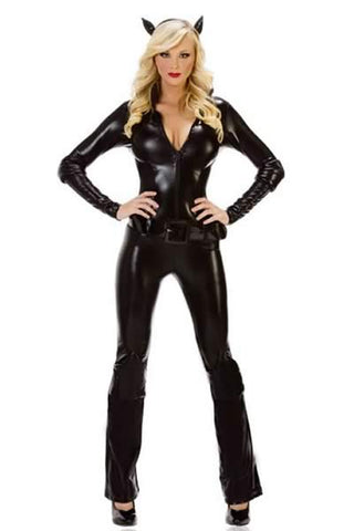 Sexy Catwoman Jumpsuits for Women Burglar Cat Costume Outfit
