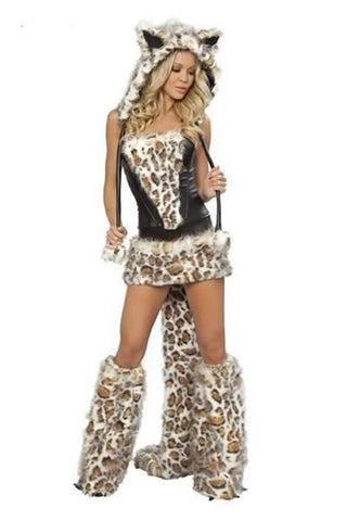 Furry Wolf Costume for Women Sexy Catwoman Uniform Halloween Outfit