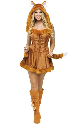 Brown Fox Costume for Women Sexy Halloween Foxy Uniform